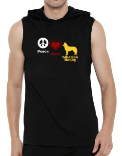 Peace, Love, Siberian Husky Hooded Sleeveless T-Shirt - Mens