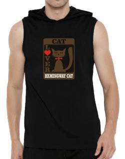 Cat Lover - Hemingway Cat Hooded Sleeveless T-Shirt - Mens