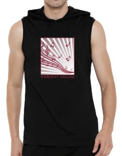 Ambient House - Musical Notes Hooded Sleeveless T-Shirt - Mens