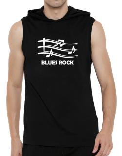 Blues Rock - Musical Notes Hooded Sleeveless T-Shirt - Mens