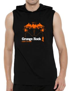"""  Grunge Rock plugged into the sound "" Hooded Sleeveless T-Shirt - Mens"