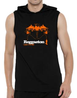 """  Reggaeton plugged into the sound "" Hooded Sleeveless T-Shirt - Mens"