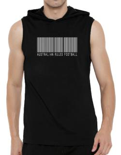 Australian Rules Football Barcode / Bar Code Hooded Sleeveless T-Shirt - Mens