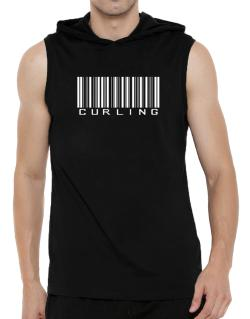 Curling Barcode / Bar Code Hooded Sleeveless T-Shirt - Mens