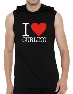 I Love Curling Classic Hooded Sleeveless T-Shirt - Mens