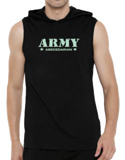 Army Abecedarian Hooded Sleeveless T-Shirt - Mens