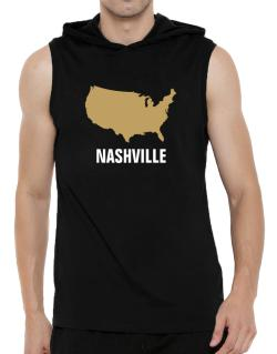 Nashville - Usa Map Hooded Sleeveless T-Shirt - Mens