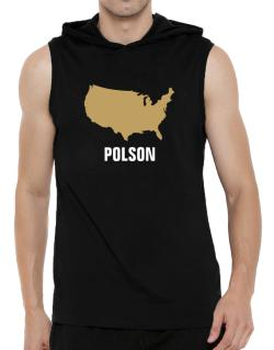 Polson - Usa Map Hooded Sleeveless T-Shirt - Mens