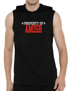 """ Property of Amish "" Hooded Sleeveless T-Shirt - Mens"