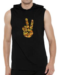 Peace Sign - Hand Collage Hooded Sleeveless T-Shirt - Mens