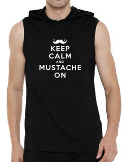 Mustache on Hooded Sleeveless T-Shirt - Mens