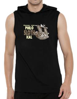 Philosophical Sloth Hooded Sleeveless T-Shirt - Mens
