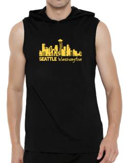 Seattle, Washington skyline Hooded Sleeveless T-Shirt - Mens
