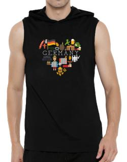 I love Germany Hooded Sleeveless T-Shirt - Mens