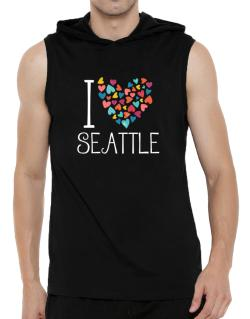 I love Seattle colorful hearts Hooded Sleeveless T-Shirt - Mens