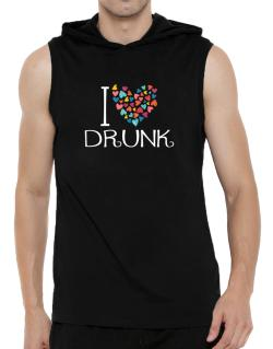 I love Drunk colorful hearts Hooded Sleeveless T-Shirt - Mens