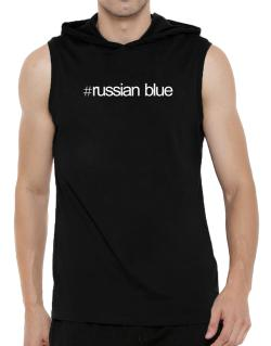 Hashtag Russian Blue Hooded Sleeveless T-Shirt - Mens