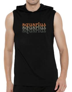 Aquarius repeat retro Hooded Sleeveless T-Shirt - Mens