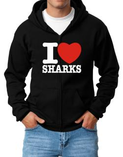 I Love Sharks Zip Hoodie - Mens