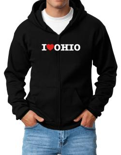 I Love Ohio Zip Hoodie - Mens