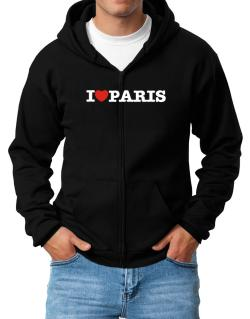 I Love Paris Zip Hoodie - Mens