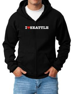 I Love Seattle Zip Hoodie - Mens