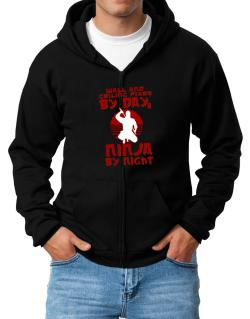 Wall And Ceiling Fixer By Day, Ninja By Night Zip Hoodie - Mens