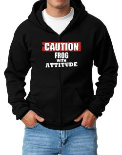 Caution - Frog With Attitude Zip Hoodie - Mens