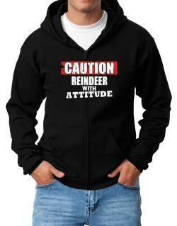 Caution - Reindeer With Attitude Zip Hoodie - Mens