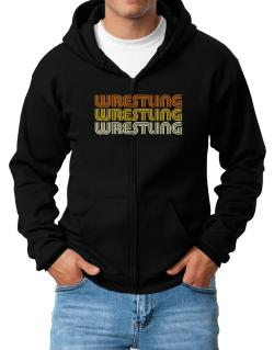 Wrestling Retro Color Zip Hoodie - Mens