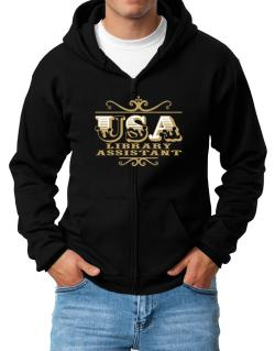 Usa Library Assistant Zip Hoodie - Mens