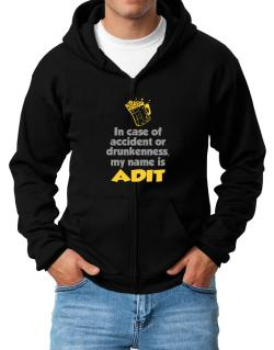 In Case Of Accident Or Drunkenness, My Name Is Adit Zip Hoodie - Mens