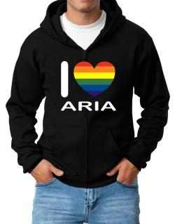I Love Aria - Rainbow Heart Zip Hoodie - Mens