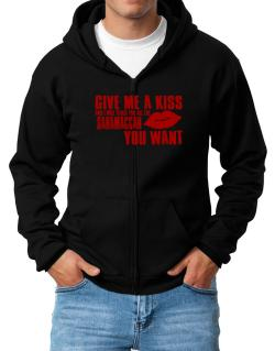 Give Me A Kiss And I Will Teach You All The Saramaccan You Want Zip Hoodie - Mens