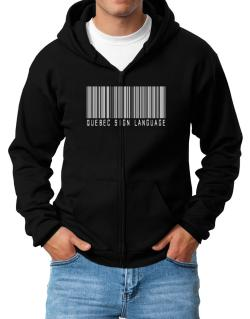 Quebec Sign Language Barcode Zip Hoodie - Mens