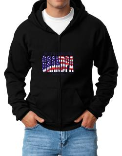 Grandpa Asheville - Us Flag Zip Hoodie - Mens