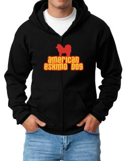 Breed Color American Eskimo Dog Zip Hoodie - Mens