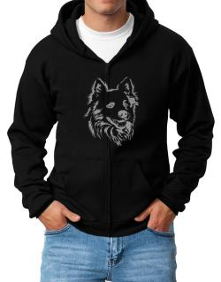 """ Australian Cattle Dog FACE SPECIAL GRAPHIC "" Zip Hoodie - Mens"