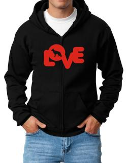 Love Silhouette German Shepherd Zip Hoodie - Mens