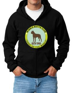 Boston Terrier - Wiggle Butts Club Zip Hoodie - Mens