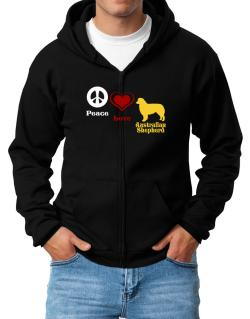 Peace, Love, Australian Shepherd Zip Hoodie - Mens