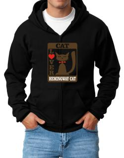 Cat Lover - Hemingway Cat Zip Hoodie - Mens
