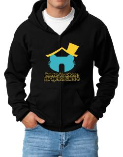 Home Is Where Applehead Siamese Is Zip Hoodie - Mens