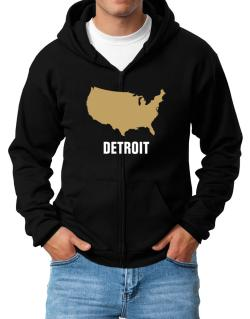 Detroit - Usa Map Zip Hoodie - Mens