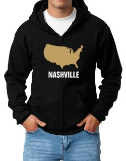Nashville - Usa Map Zip Hoodie - Mens