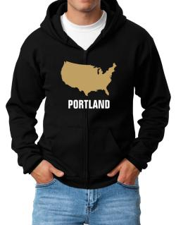 Portland - Usa Map Zip Hoodie - Mens