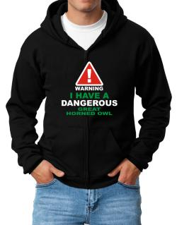 Warning! I Have A Dangerous Great Horned Owl Zip Hoodie - Mens