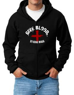 Give Blood, Do Krav Maga Zip Hoodie - Mens