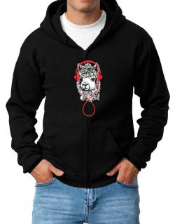 Llama with headphones Zip Hoodie - Mens