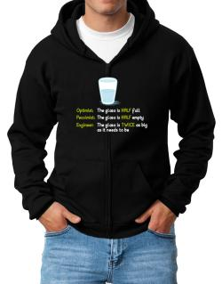 Optimist pessimist engineer glass problem Zip Hoodie - Mens